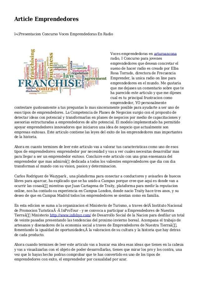 Article Emprendedores Presentacion Concurso Voces Emprendedoras En Radio Voces emprendedoras en arturoancona radio, I C...