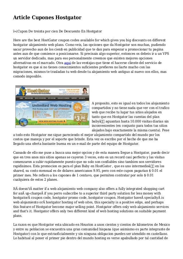 Article Cupones Hostgator Cupon De treinta por cien De Descuento En Hostgator Here are the best HostGator coupon codes ...