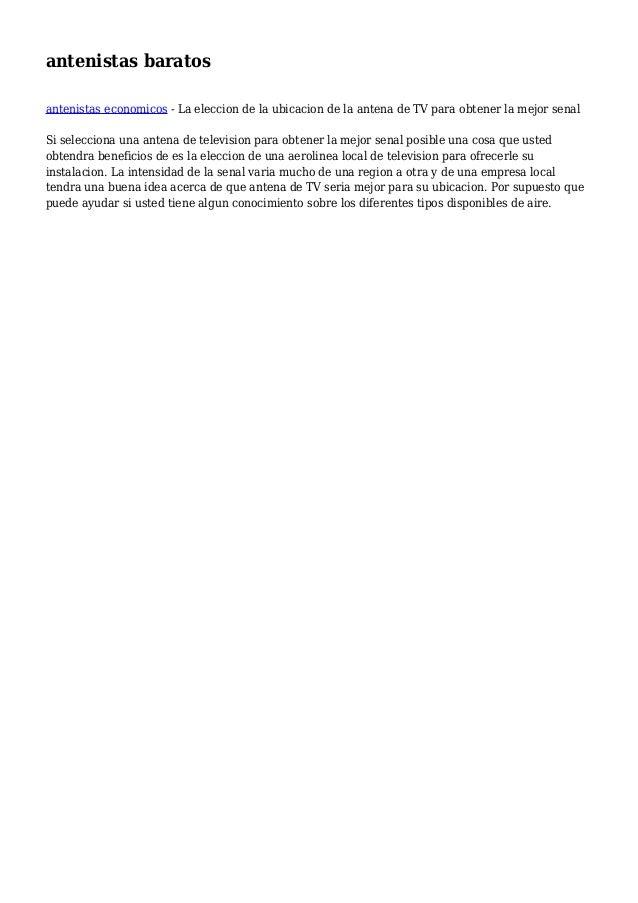 antenistas baratos antenistas economicos - La eleccion de la ubicacion de la antena de TV para obtener la mejor senal Si s...