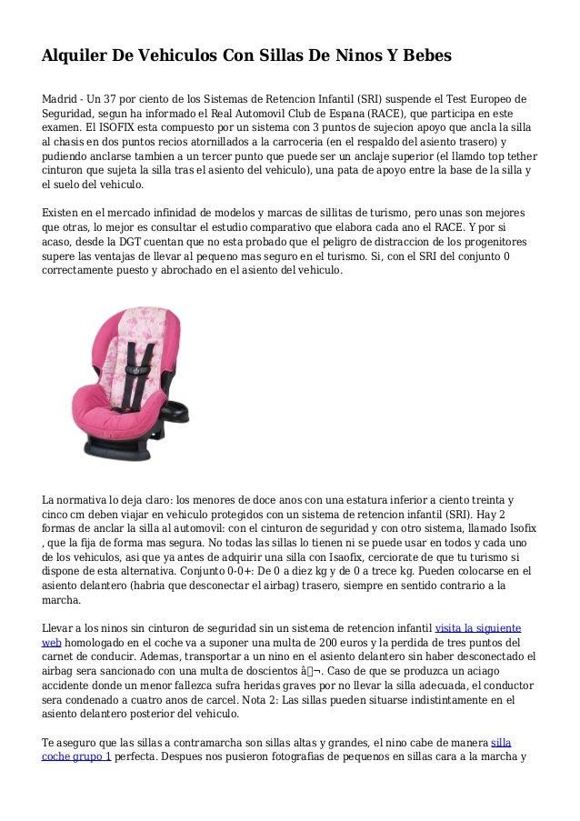 Alquiler de vehiculos con sillas de ninos y bebes - Alquiler coche con silla bebe ...