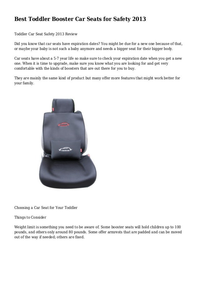 Best Toddler Booster Car Seats For Safety 2013