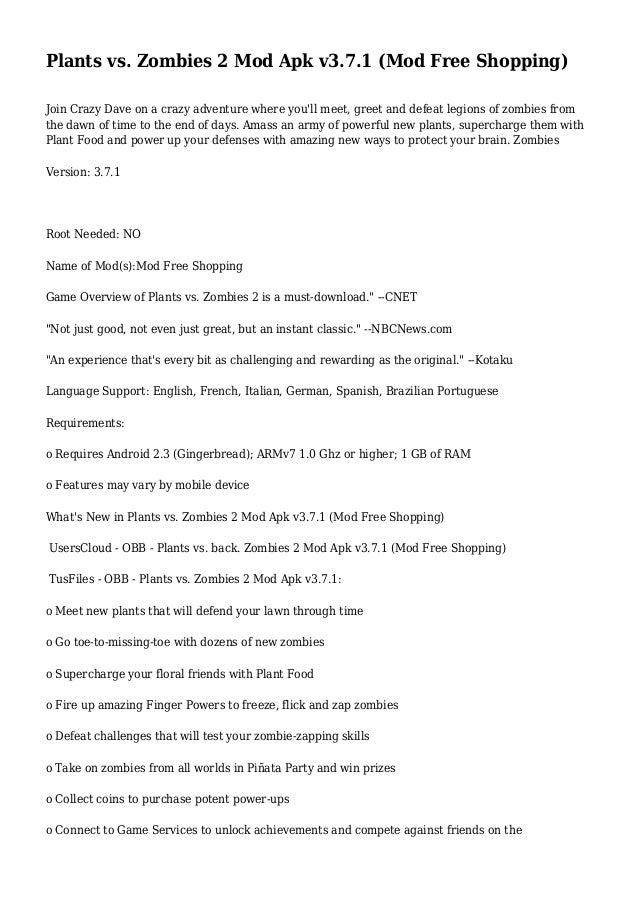Plants vs  Zombies 2 Mod Apk v3 7 1 (Mod Free Shopping)
