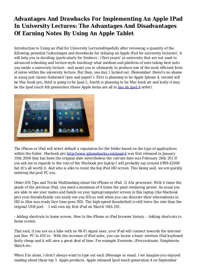 Advantages And Drawbacks For Implementing An Apple IPad In University…