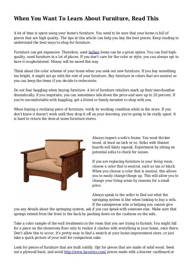 When You Want To Learn About Furniture, Read This A Lot Of Time Is Spent ...