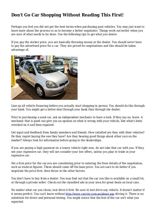 Don\'t Go Car Shopping Without Reading This First!