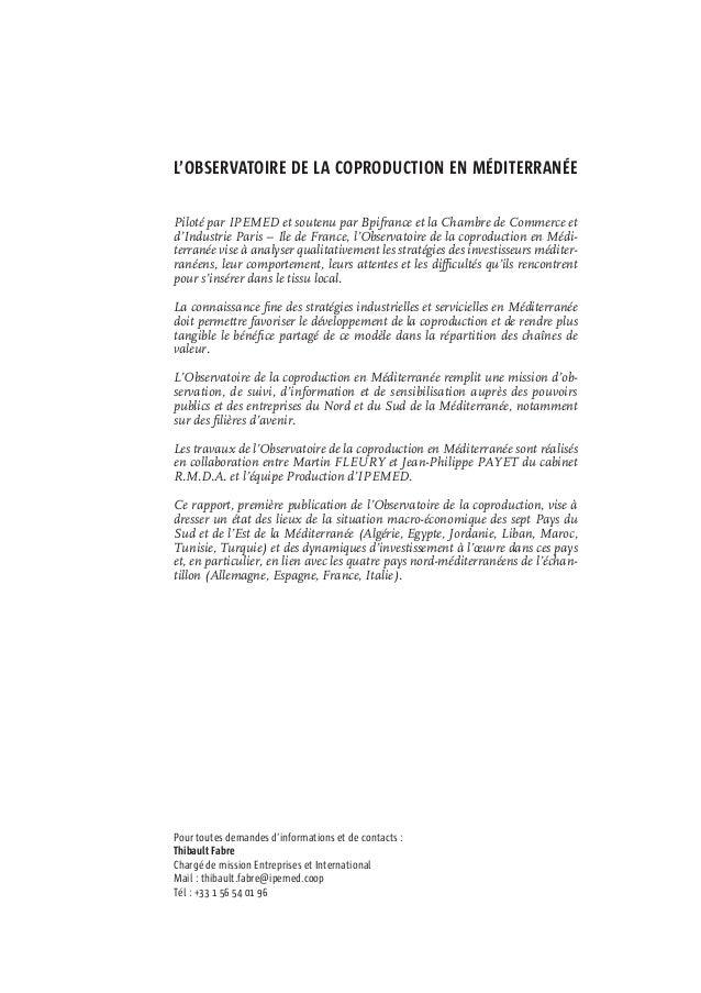 Dynamiques des investissements dans les pays riverains de la Méditerranée - IPEMED - juin 2015 Slide 3