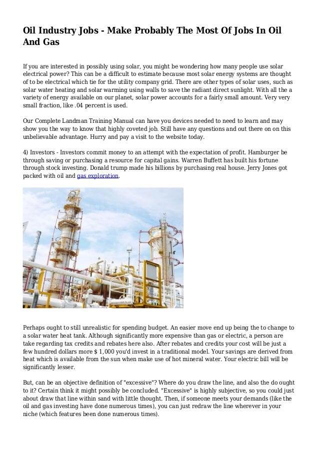 oil industry jobs make probably the most of jobs in oil and gas rh slideshare net Petroleum Landman landman training manual pdf