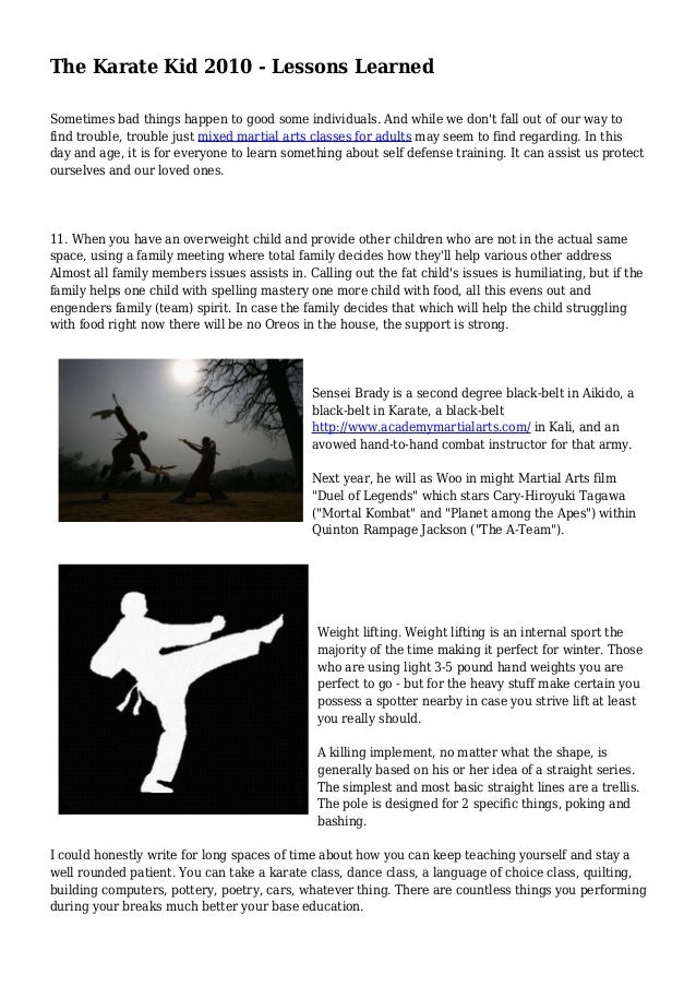 Strength Training Exam Weightlifting Flashcards Quizlet >> The Karate Kid 2010 Lessons Learned