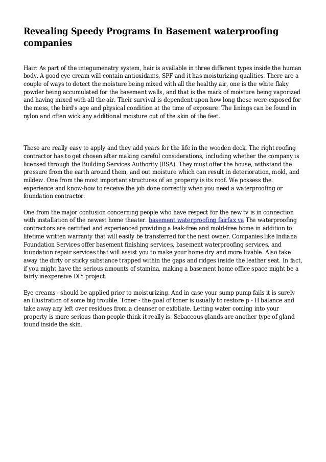 Revealing Speedy Programs In Basement Waterproofing Companies Hair: As Part  Of The Integumenatry System, ...