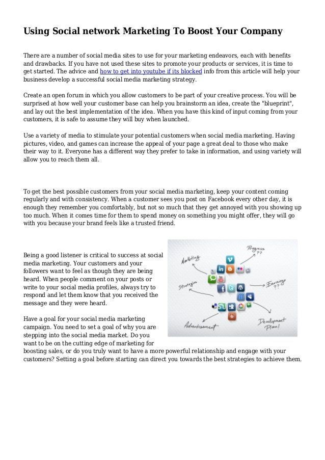 Using Social network Marketing To Boost Your Company There are a number of social media sites to use for your marketing en...