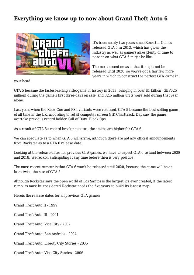 Everything we know up to now about Grand Theft Auto 6