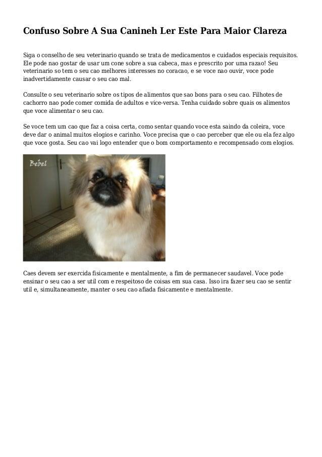 Confuso Sobre A Sua Canineh Ler Este Para Maior Clareza Siga o conselho de seu veterinario quando se trata de medicamentos...