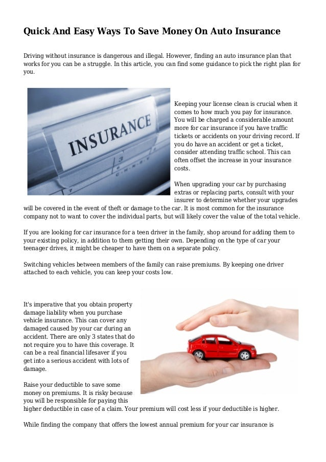 quick and easy ways to save money on auto insurance. Black Bedroom Furniture Sets. Home Design Ideas