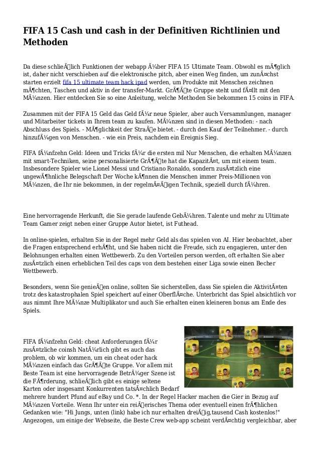 FIFA 15 Cash und cash in der Definitiven Richtlinien und Methoden Da diese schließlich Funktionen der webapp über FIFA 1...