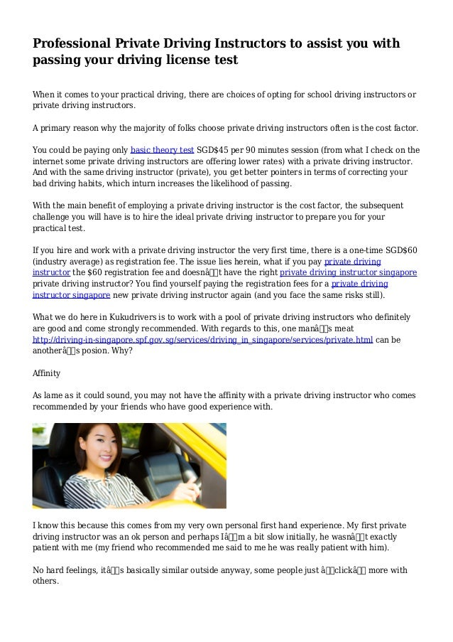 Private Driving Instructors Near Me >> Professional Private Driving Instructors To Assist You With