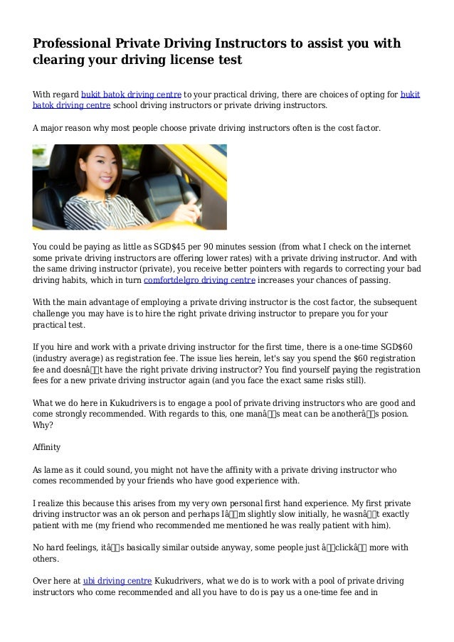 Professional Private Driving Instructors to assist you with