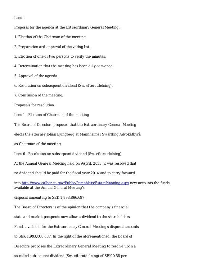 Shareholders meeting agenda template notice of meeting of summons to extraordinary general meeting in viking supply ships ab p altavistaventures Gallery