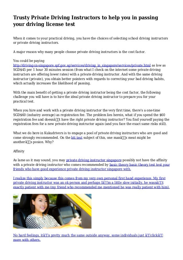 Private Driving Instructors Near Me >> Trusty Private Driving Instructors To Help You In Passing