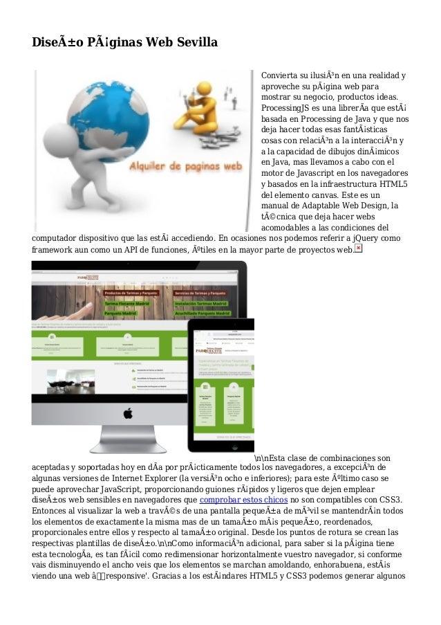 Diseño Páginas Web Sevilla Convierta su ilusión en una realidad y aproveche su página web para mostrar su negocio, pro...