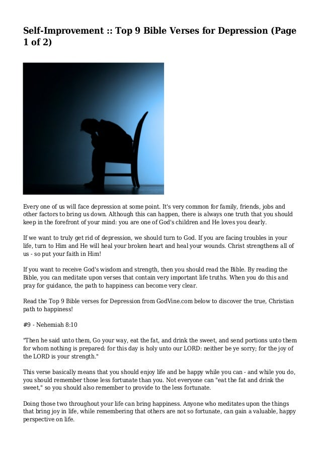 Self-Improvement :: Top 9 Bible Verses for Depression (Page 1 of 2)
