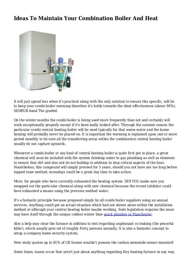 Ideas To Maintain Your Combination Boiler And Heat