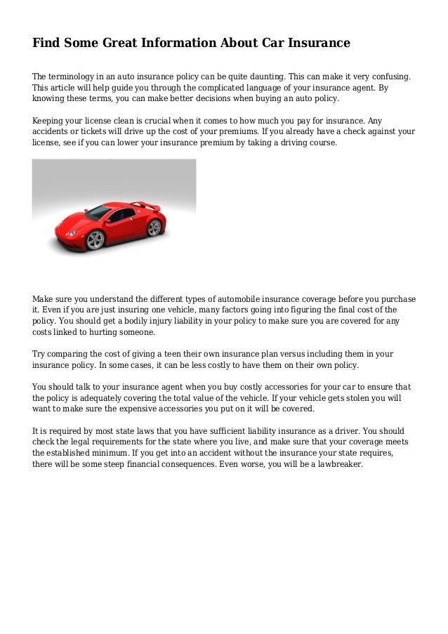 Find Some Great Information About Car Insurance