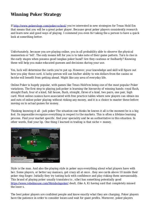 Poker Winning Strategy