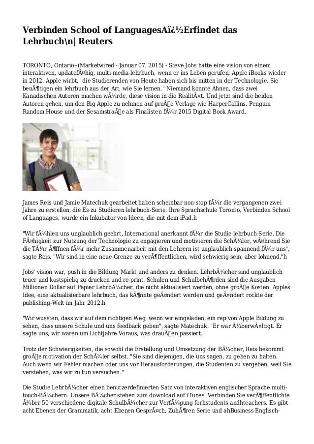 Verbinden School of LanguagesA�Erfindet das Lehrbuchn| Reuters TORONTO, Ontario--(Marketwired - Januar 07, 2015) - Steve...