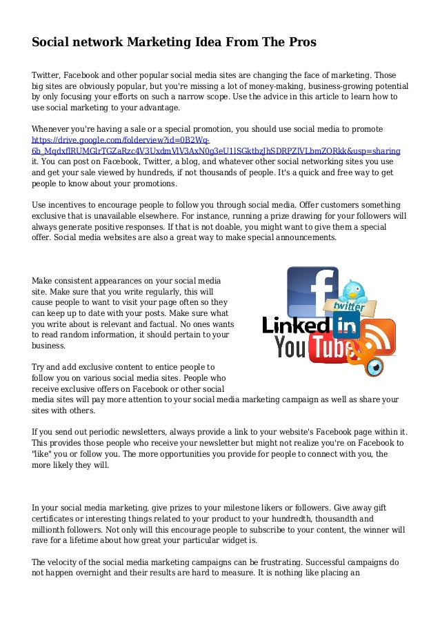 Social network Marketing Idea From The Pros