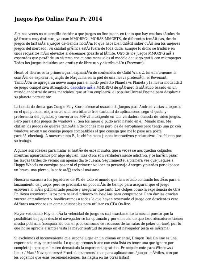Juegos Fps Online Para Pc 2014