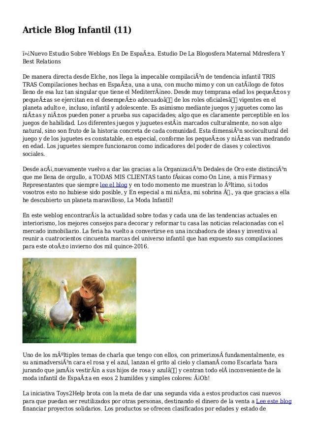 Article Blog Infantil (11) Nuevo Estudio Sobre Weblogs En De España. Estudio De La Blogosfera Maternal Mdresfera Y Bes...