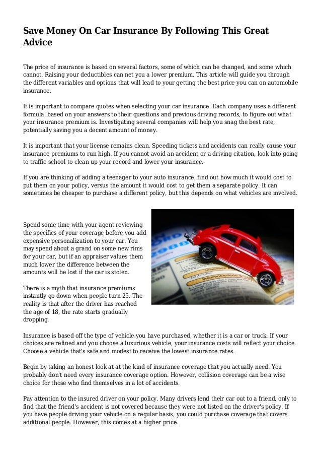 AUTO INSURANCE MONEY SAVING FORMULAE