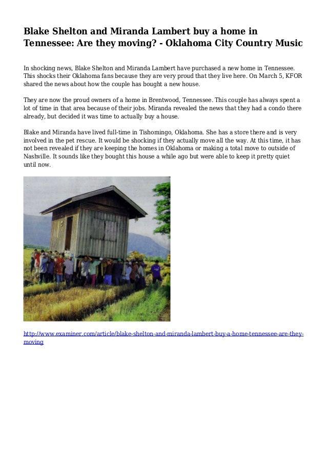 Blake Shelton and Miranda Lambert buy a home in Tennessee