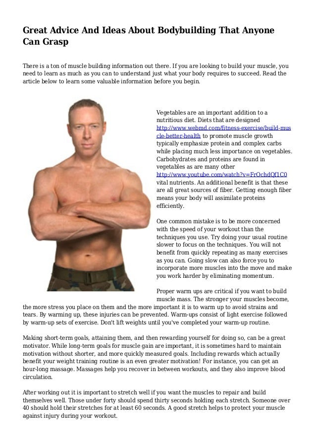 Great Advice And Ideas About Bodybuilding That Anyone Can