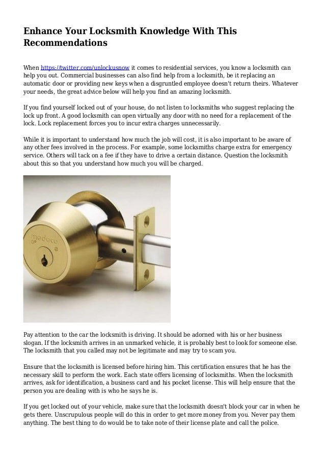 Enhance Your Locksmith Knowledge With This Recommendations When https://twitter.com/unlockusnow it comes to residential se...