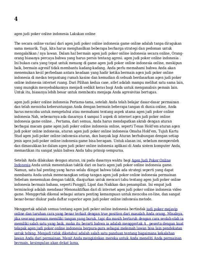 4 agen judi poker online indonesia Lakukan online The secara online variasi dari agen judi poker online indonesia game onl...