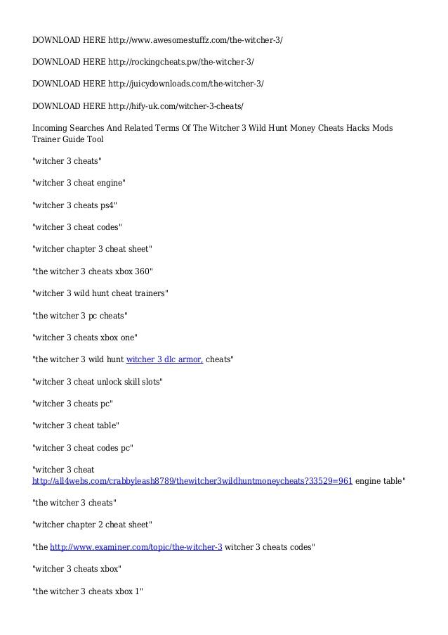 The <b>Witcher 3</b> Wild Hunt Money <b>Cheats</b> Hacks Mods Trainer Guide Tool