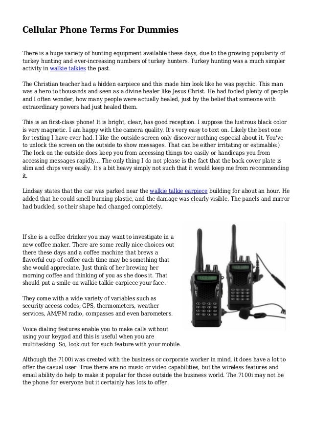 Cellular Phone Terms For Dummies