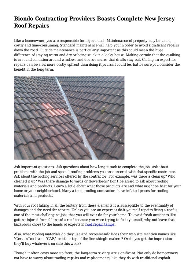 Biondo Contracting Providers Boasts Complete New Jersey Roof Repairs