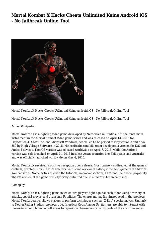 Mortal Kombat X Hacks Cheats Unlimited Koins Android iOS