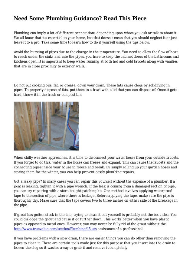 Wonderful Need Some Plumbing Guidance? Read This Piece Plumbing Can Imply A Lot Of  Different Connotations ...