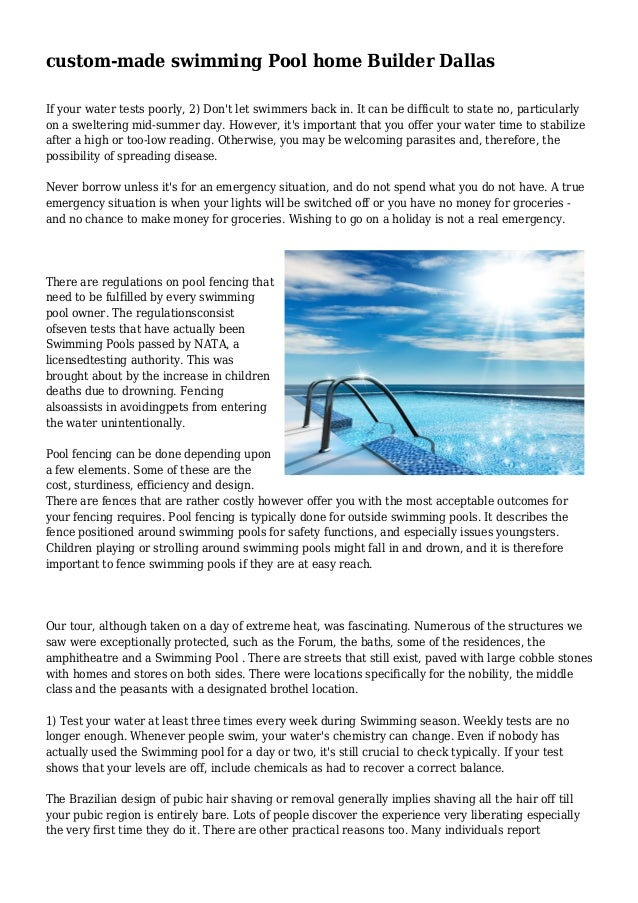 Custom Made Swimming Pool Home Builder Dallas