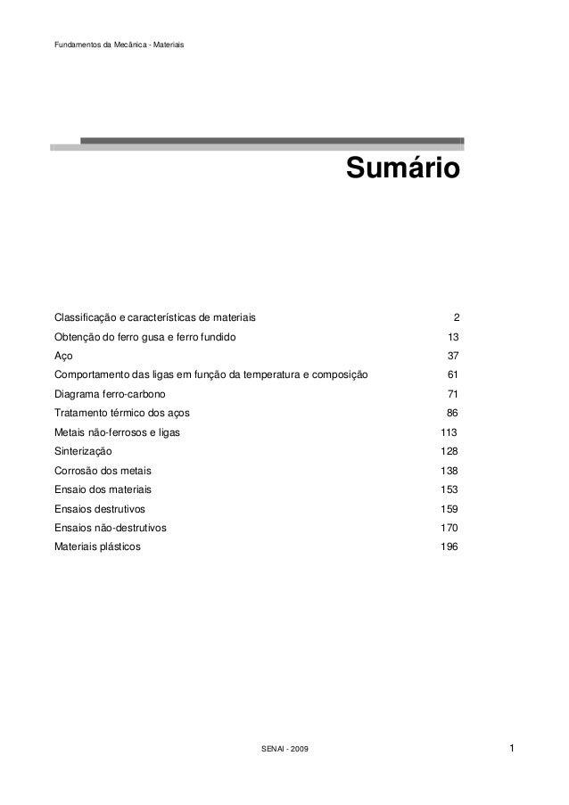 Fundamentos da Mecânica - Materiais  Sumário  Classificação e características de materiais 2  Obtenção do ferro gusa e fer...