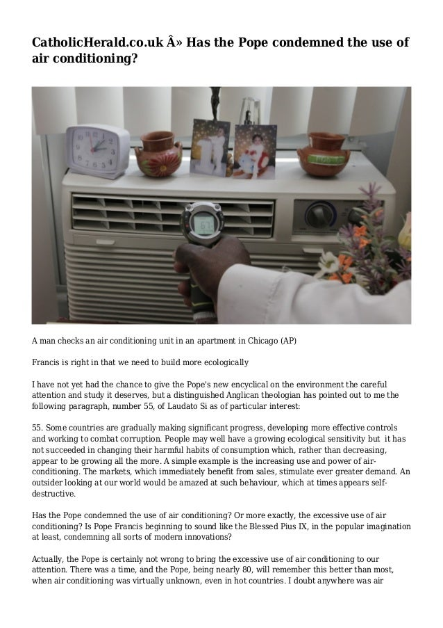 CatholicHerald.co.uk » Has the Pope condemned the use of air conditioning? A man checks an air conditioning unit in an ap...