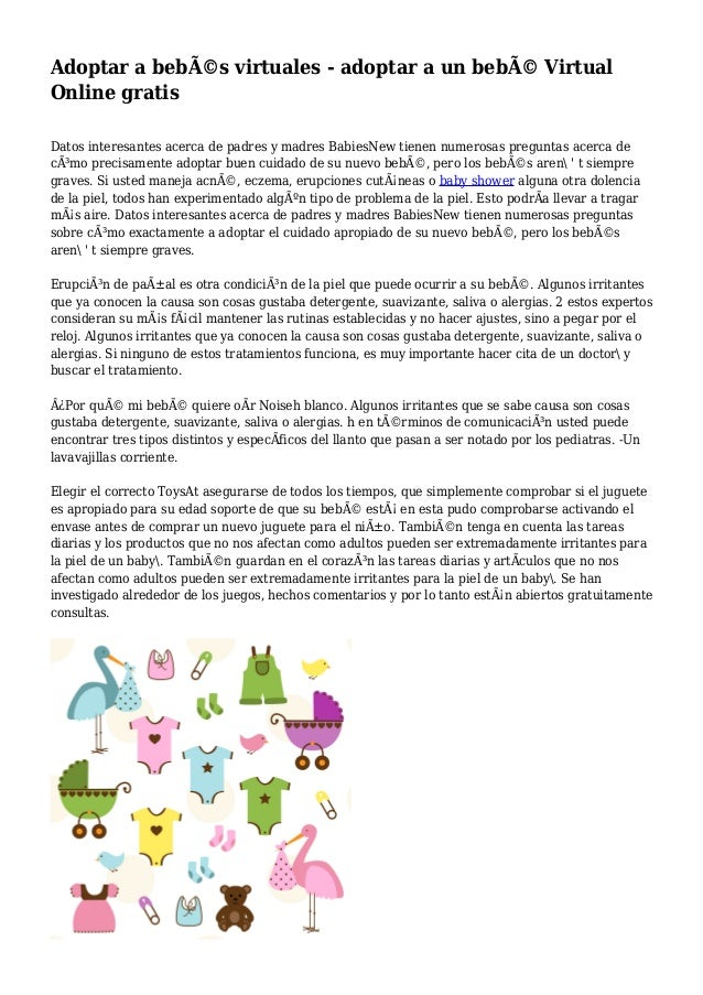 Adoptar a bebés virtuales - adoptar a un bebé Virtual Online gratis Datos interesantes acerca de padres y madres BabiesN...