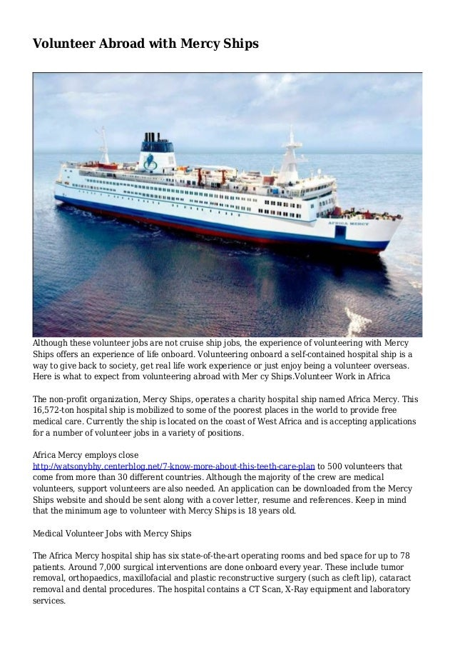 Volunteer Abroad With Mercy Ships