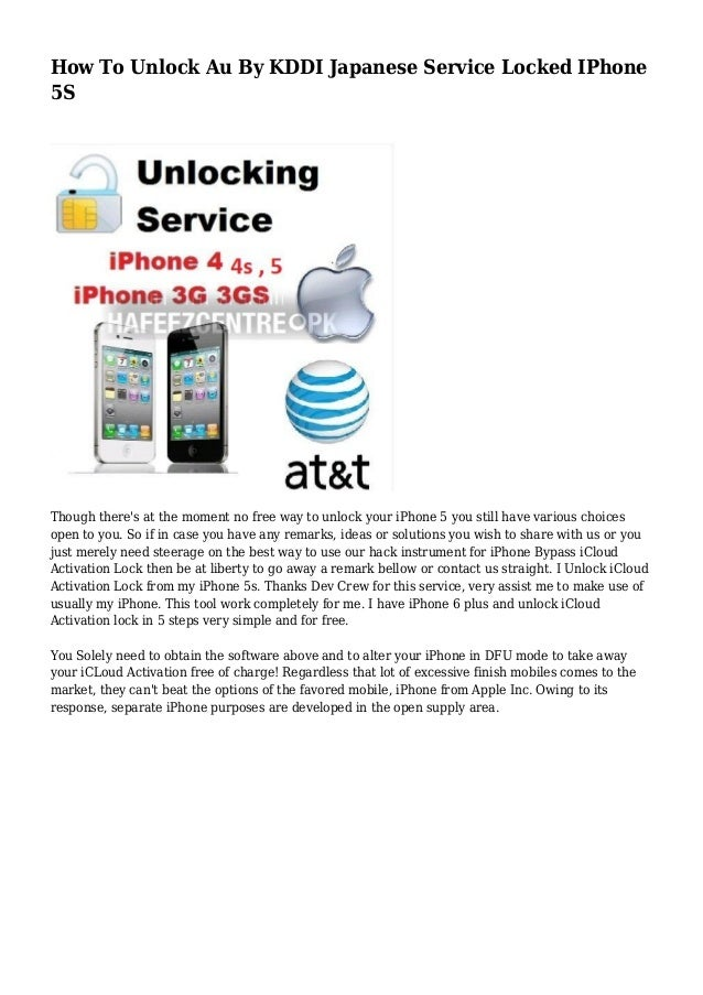 How To Unlock Au By KDDI Japanese Service Locked IPhone 5S
