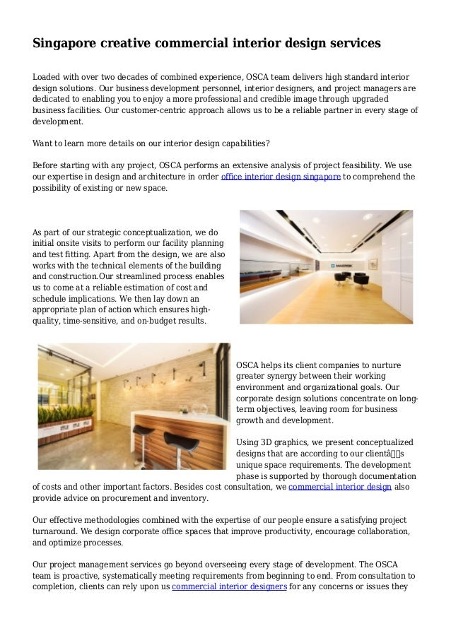 Singapore Creative Commercial Interior Design Services