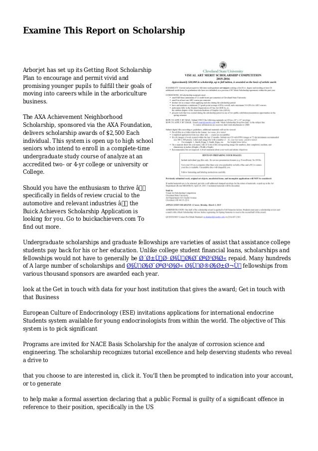 Buick Achievers Scholarship >> Examine This Report On Scholarship
