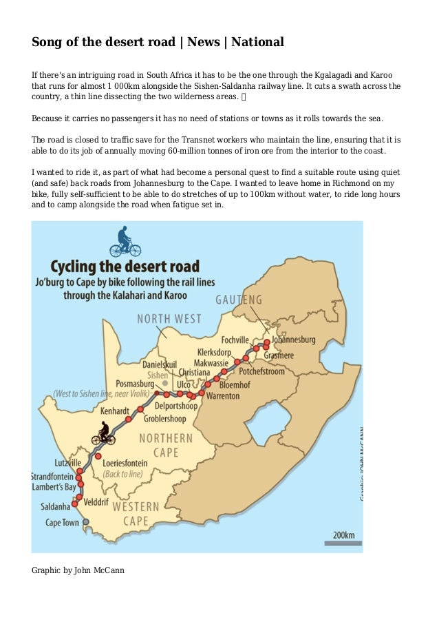 Song of the desert road | News | National If there's an intriguing road in South Africa it has to be the one through the K...